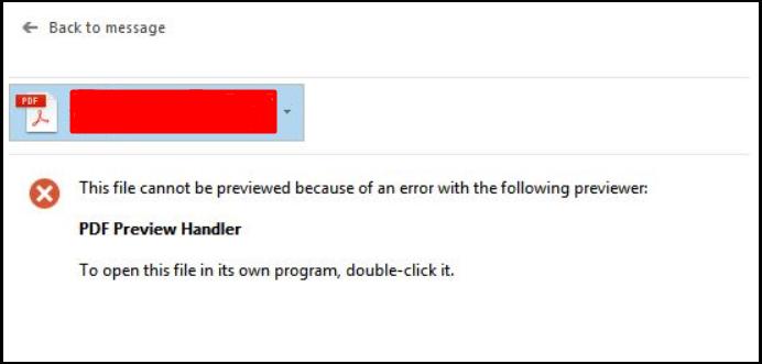 PDF Preview Handler hatası