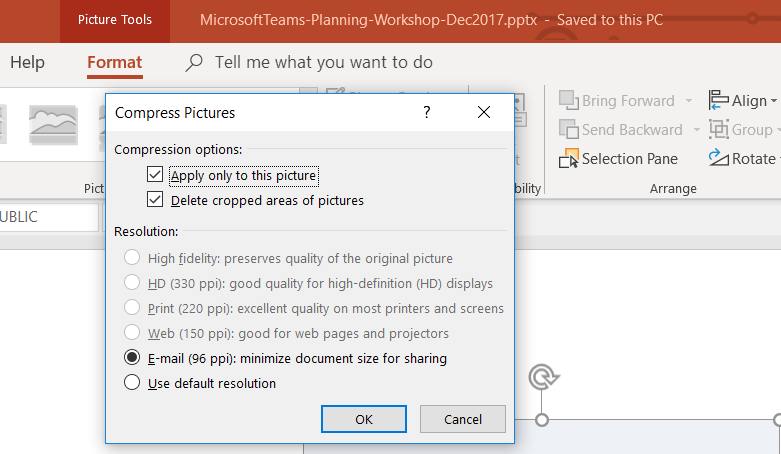 Powerpoint - Compress Pictures