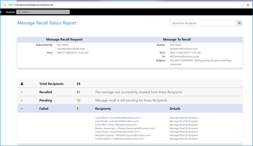 Message Recall Status Report