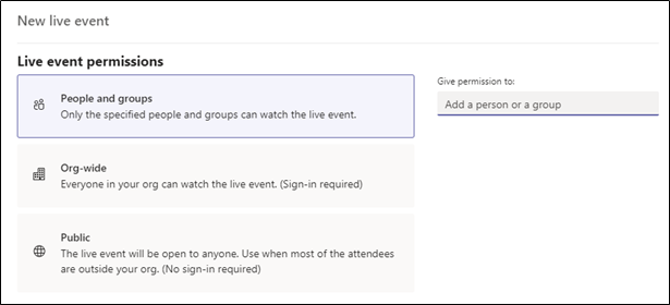 Live event permissions