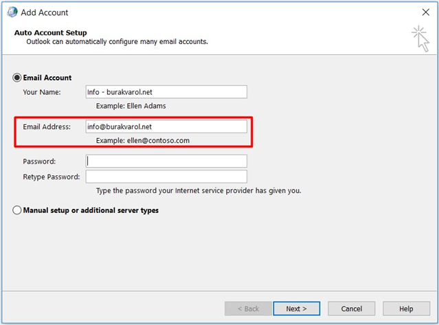 Outlook > Add Account > Auto Account Setup (Shared Mailbox)