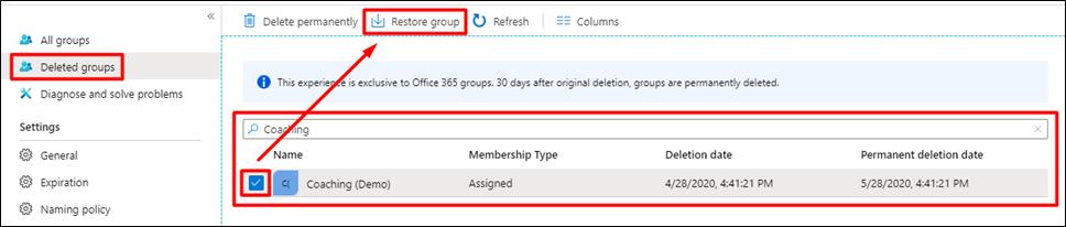 Azure AD - Restore group (Grubu geri yükle)