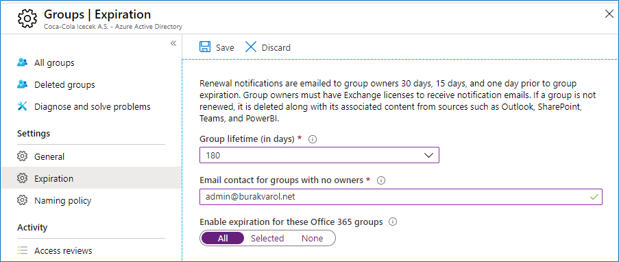 Office 365 Groups Expiration Policy