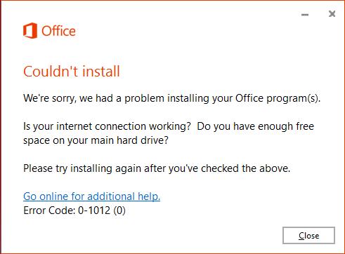 Office 365 Kurulum Hatası - 0-1012 (0)