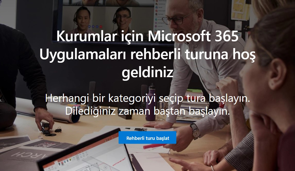 Kurumlar için Microsoft 365 Uygulamaları rehberli turu