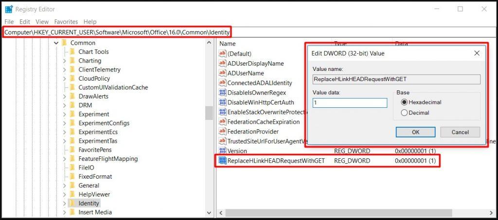 ReplaceHLinkHEADRequestWithGET (Office Uygulamalarında ADFS Sunucusuna Yönlenen Bağlantılar Yavaş Açılıyor)