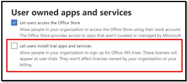 Let users install trial apps and services (Microsoft Office 365 deneme lisansları)
