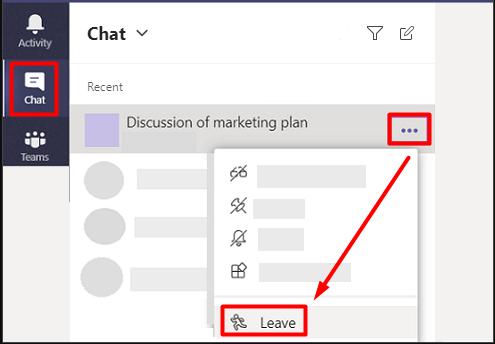 Microsoft Teams grup sohbetinden ayrılma