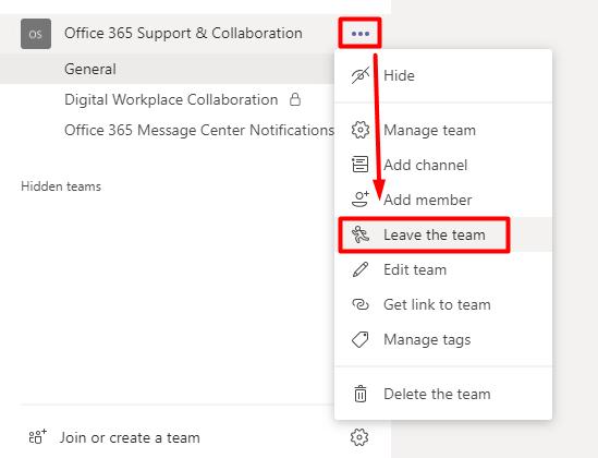 Microsoft Teams ekipten ayrılma
